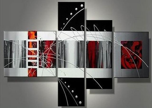 Handmade 4 Piece Black White Red Contemporary Abstract Wall Art With Regard To Contemporary Abstract Wall Art (Image 8 of 20)