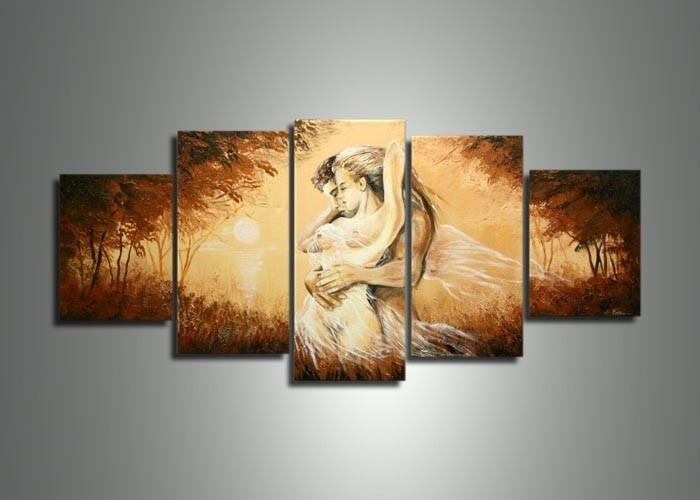 Handmade 5 Panel Modern Abstract Oil Painting On Canvas Wall Art Within Abstract Body Wall Art (Image 11 of 20)