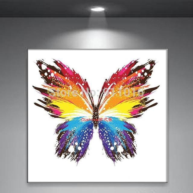 Handmade Abstract Butterfly Picture Home Decor Oil Painting On Intended For Abstract Butterfly Wall Art (Image 17 of 20)
