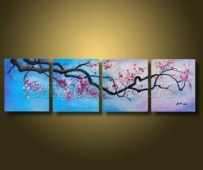 Handmade Abstract Cherry Blossom Flower Landscape Oil Painting On Pertaining To Cherry Blossom Oil Painting Modern Abstract Wall Art (Image 13 of 20)