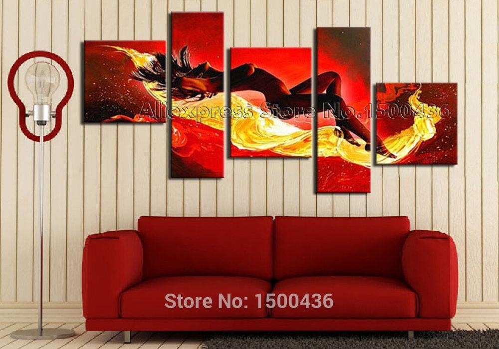 Handmade Abstract Nude Sexy Painting Oil Girl Set Modern Woman With Abstract Body Wall Art (View 2 of 20)