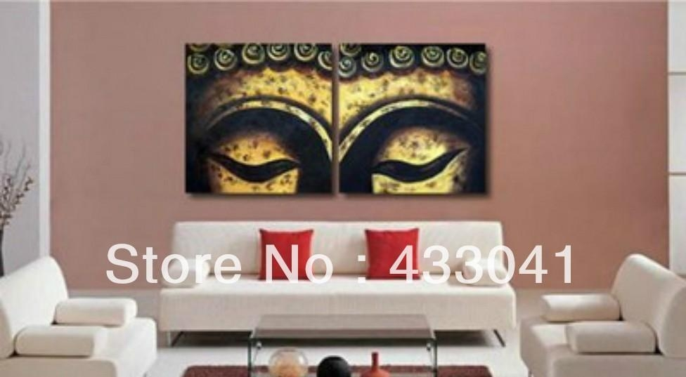 Handmade Bamboo Face Oil Painting Buddha Canvas Art Abstract Within Abstract Buddha Wall Art (Image 9 of 20)