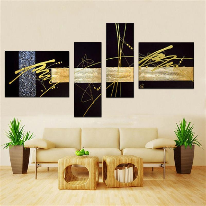 Handmade Black Gold Silver Modern Abstract Wall Art Oil Painting Within Black And Gold Abstract Wall Art (Image 15 of 20)