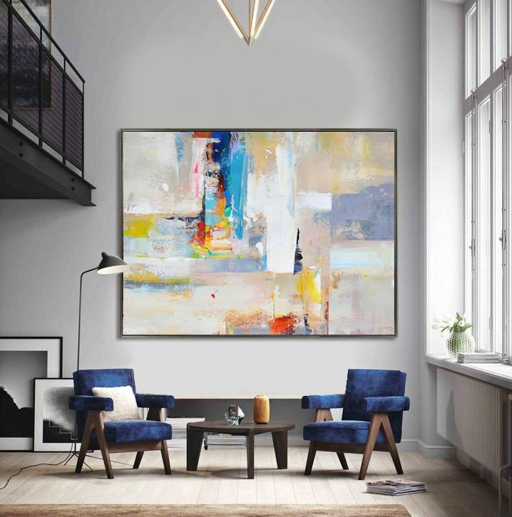 Handmade Extra Large Contemporary Painting, Huge Abstract Canvas Regarding Big Abstract Wall Art (View 15 of 20)