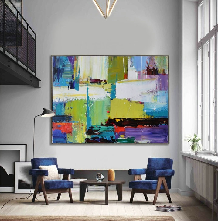 Handmade Extra Large Contemporary Painting, Huge Abstract Canvas Regarding Extra Large Abstract Wall Art (Image 8 of 15)