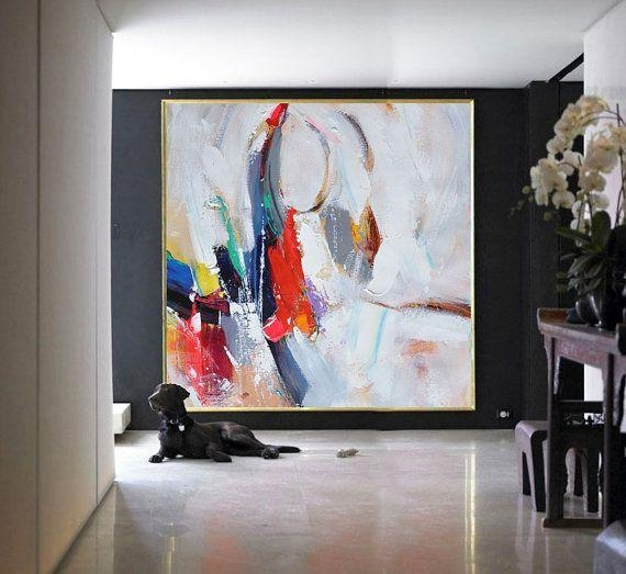 Handmade Large Contemporary Art Canvas Paintingcelineziangart Regarding Big Abstract Wall Art (View 14 of 20)