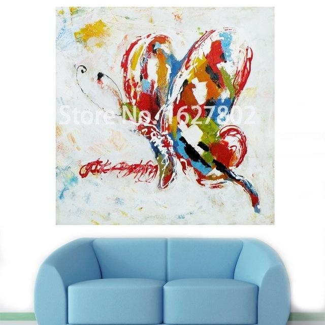 Handmade Modern Abstract Decorative Animal Picture Abstract In Abstract Butterfly Wall Art (View 2 of 20)
