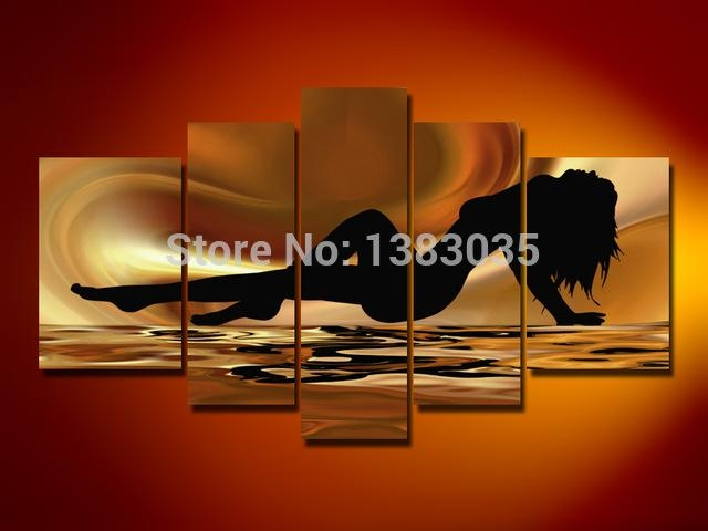 Handmade Nude Femal Body Paintings Modern Abstract Naked Girl 5 With Regard To Abstract Body Wall Art (View 19 of 20)