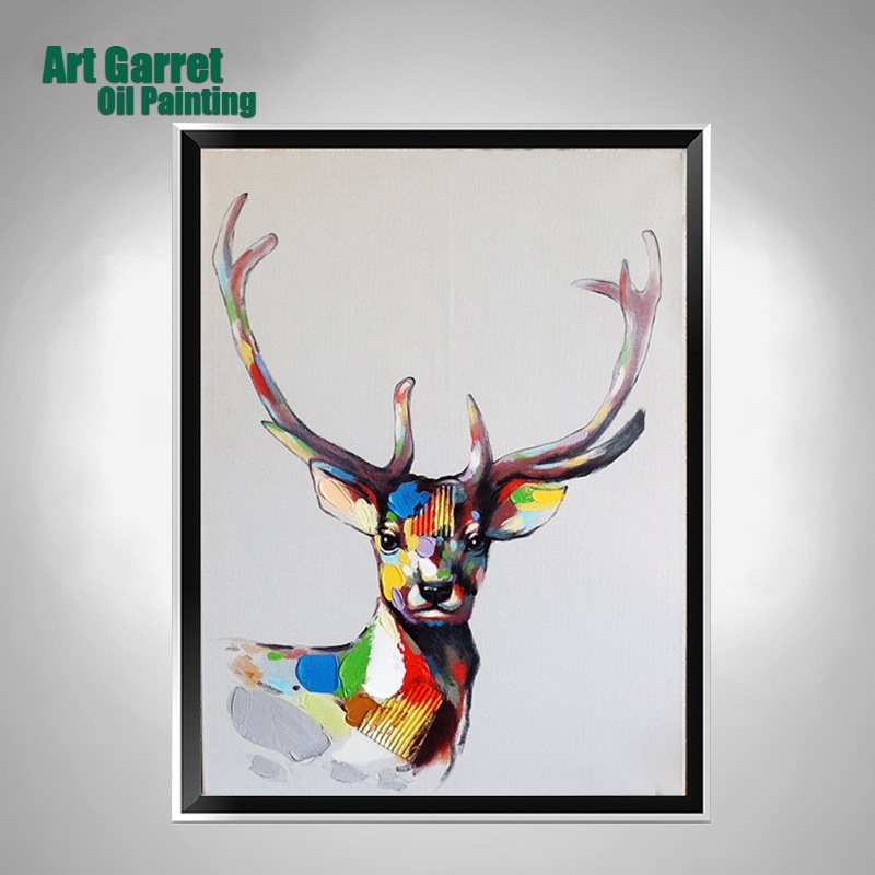 Handmade Oil Paintings On Canvas Animals Abstract Texture Deer Intended For Abstract Deer Wall Art (Image 11 of 15)