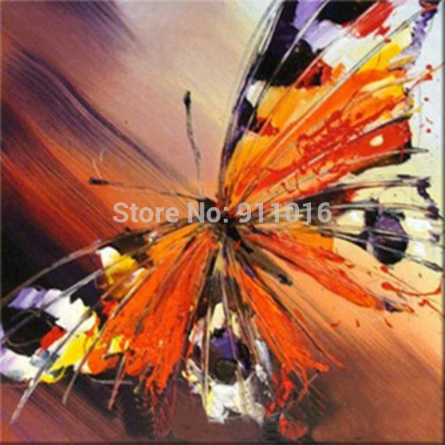 Handmade Palette Knife Oil Painting Abstract Painting Home Intended For Abstract Butterfly Wall Art (View 15 of 20)