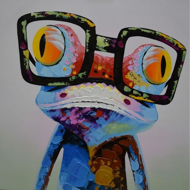 Handpainted Abstract Cartoon Animal Oil Canvas Painting Happy Frog Inside Abstract Animal Wall Art (View 18 of 20)
