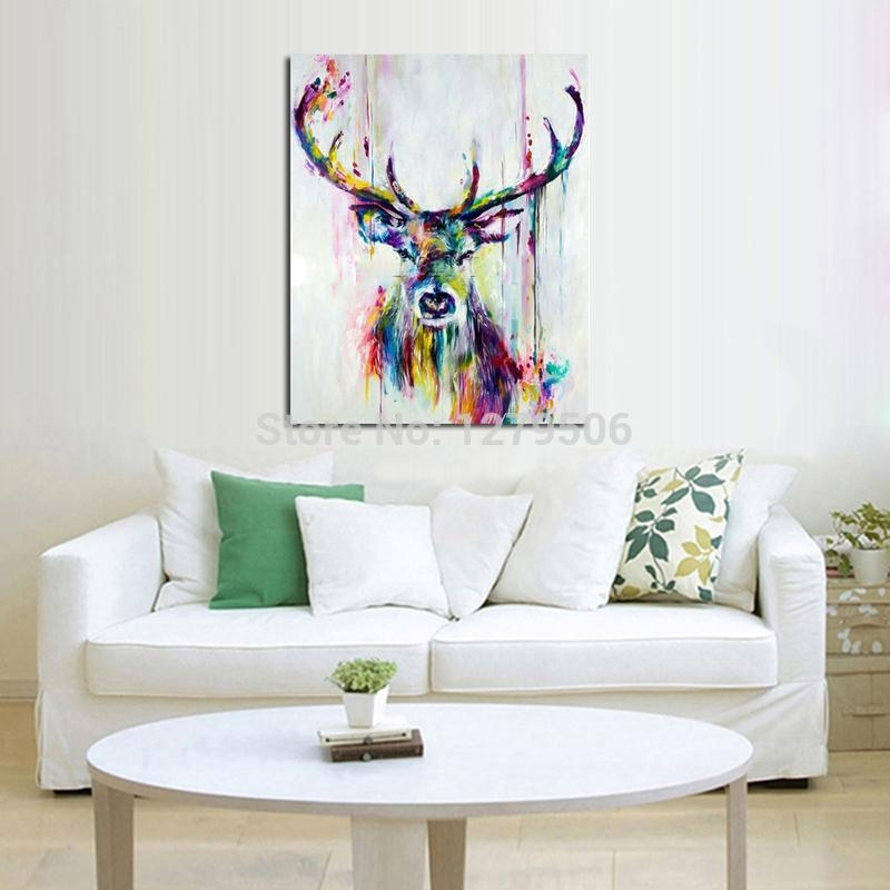 Handpainted Oil Painting On Canvas Wall Pictures Deer Wall Art For With Abstract Deer Wall Art (Image 12 of 15)