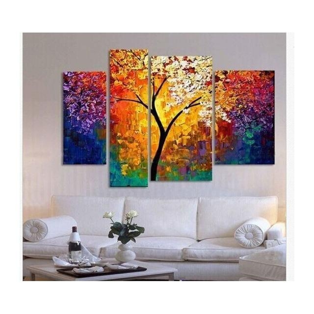 Handpainted Oil Painting Palette Knife Paintings For Living Room Intended For Affordable Abstract Wall Art (Image 7 of 20)