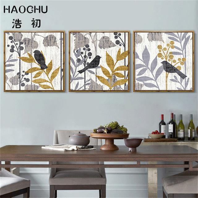Haochu Modern Abstract Bird On The Tree Wall Art Canvas Painting Regarding Abstract Bird Wall Art (View 15 of 20)