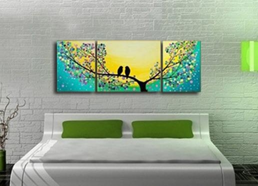 High Quality 100%handmade Bird Tree Yellow Green Modern Abstract With Abstract Bird Wall Art (View 2 of 20)