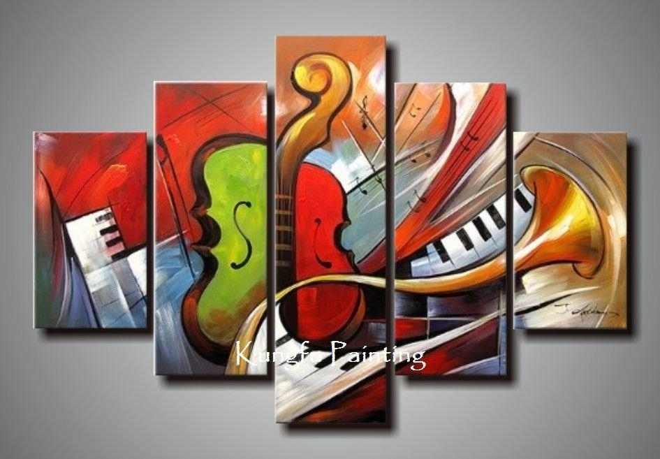 Holiday Sale 100% Hand Painted Discount Abstract Music Paintings With Abstract Musical Notes Piano Jazz Wall Artwork (Image 9 of 20)