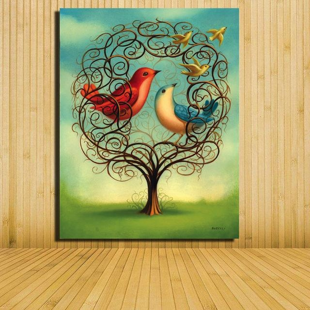 Home Decor Canvas Painting Abstract Bird On Tree Landscape In Abstract Bird Wall Art (View 14 of 20)