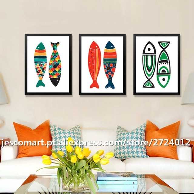 Home Decor Canvas Painting Abstract Style Colourful Fish Wall Art Within Abstract Fish Wall Art (View 11 of 15)