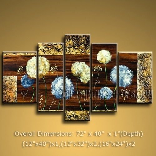 Huge Abstract Floral Oil Painting Dandelion Flower Contemporary With Regard To Abstract Floral Wall Art (Image 9 of 15)
