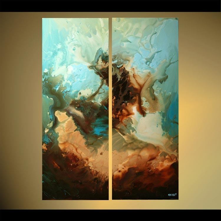 Huge Abstract Painting Blue Brown Wall Art On Canvas Ready To Hang For Blue And Brown Abstract Wall Art (Image 10 of 20)