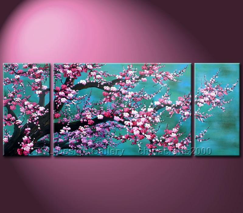 Wall art ideas cherry blossom oil painting modern for Cherry blossom canvas painting