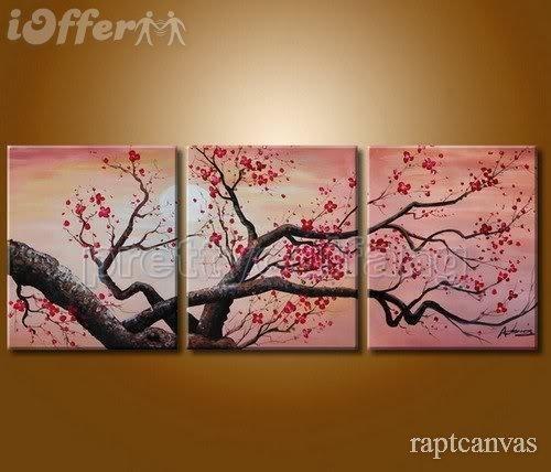 Huge Wall Art Cherry Blossom Flower Oil Painting Deco 3 For Sale With Cherry Blossom Oil Painting Modern Abstract Wall Art (Image 15 of 20)