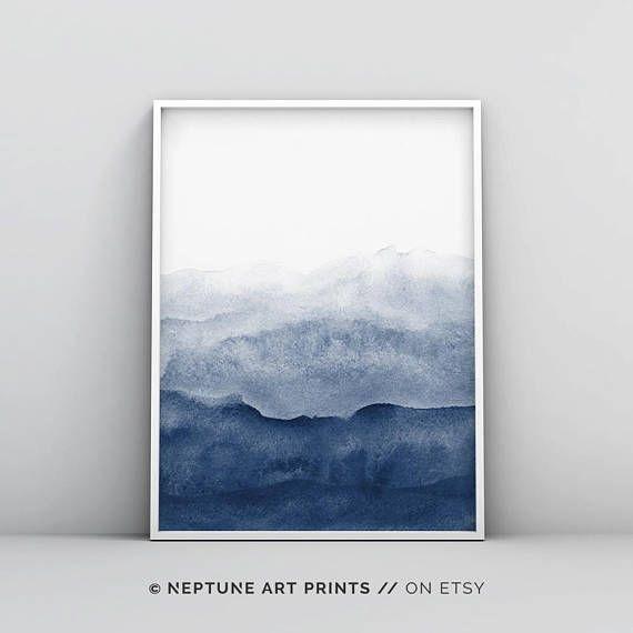 Indigo Watercolor Print, Watercolour Wall Art Print, Abstract For Dark Blue Abstract Wall Art (Image 9 of 15)