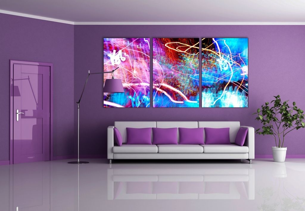 Interior : Dark Purple L Shaped Sofa For Open Plan Living Room Regarding Dark Purple Abstract Wall Art (View 14 of 15)