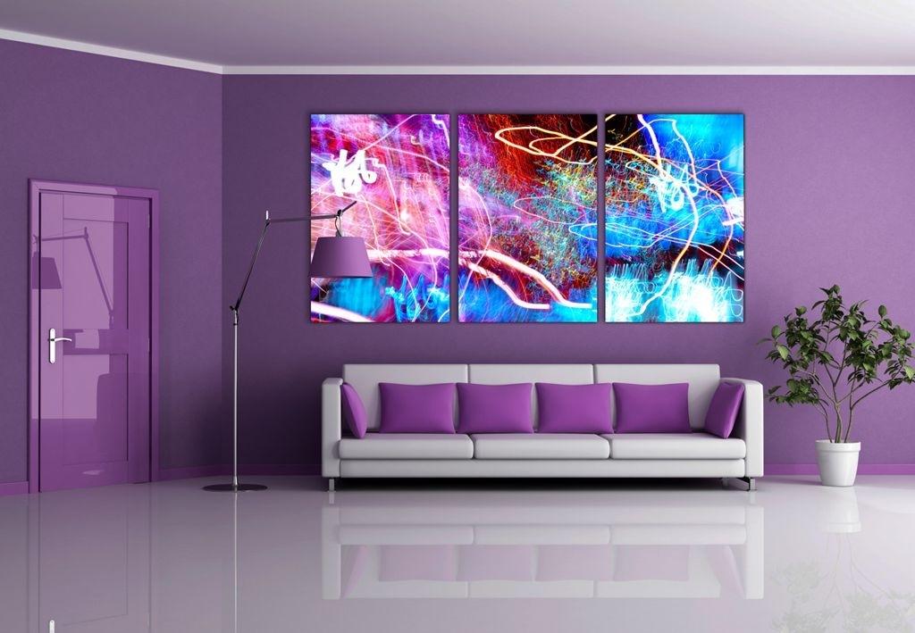 Interior : Dark Purple L Shaped Sofa For Open Plan Living Room Regarding Dark Purple Abstract Wall Art (Image 8 of 15)
