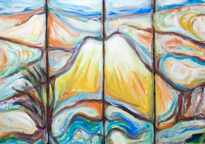 """Japanese Mountain Landscape ( Abstract Mount Fuji)"""": Pseudo For Abstract Expressionism Wall Art (View 2 of 15)"""