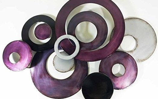 Joyous Purple Metal Wall Art With New Decor Sculpture Linked within Dark Purple Abstract Wall Art