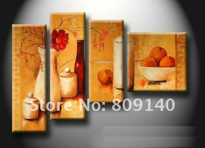 Kitchen Dining Room Oil Painting Canvas Stretched Artwork Modern In Abstract Wall Art For Dining Room (Image 8 of 15)