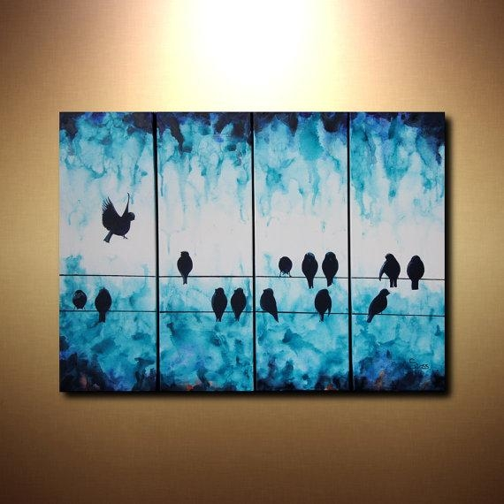 Large Abstract Art Bird On A Wire Painting 24X32 Tetraptych In Abstract Bird Wall Art (View 6 of 20)