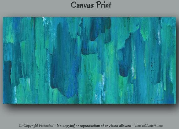 Large Abstract Canvas Wall Art Print Turquoise Teal Home With Regard To Blue Green Abstract Wall Art (View 12 of 20)