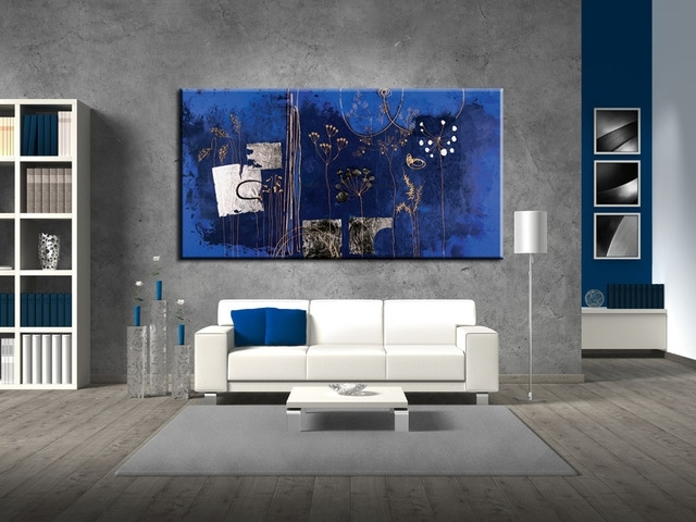 Large Abstract Dark Blue Flower Acrylic Wall Art Canvas Handmade Pertaining To Dark Blue Abstract Wall Art (Image 10 of 15)