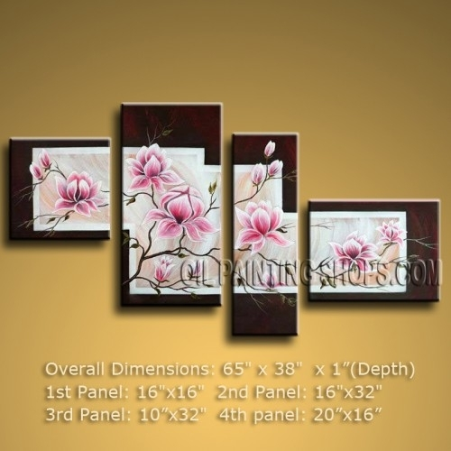 Large Abstract Floral Oil Painting Tulip Flower Contemporary With Abstract Floral Canvas Wall Art (Image 11 of 15)