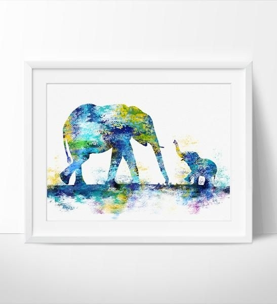 Large Abstract Painting, Elephant Art Print, Elephant Abstract Art Pertaining To Abstract Elephant Wall Art (View 9 of 15)