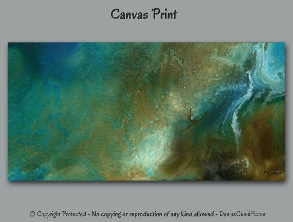 Large Abstract Painting, Giclee Canvas Print, Wall Art, Teal Blue For Blue Green Abstract Wall Art (View 9 of 20)