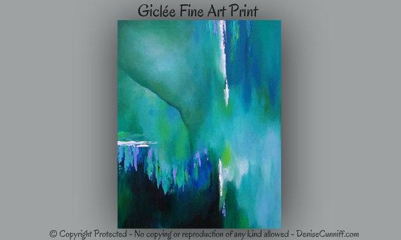Large Abstract Wall Art Bedroom Decor Teal Home Decor Green Regarding Blue Green Abstract Wall Art (View 6 of 20)
