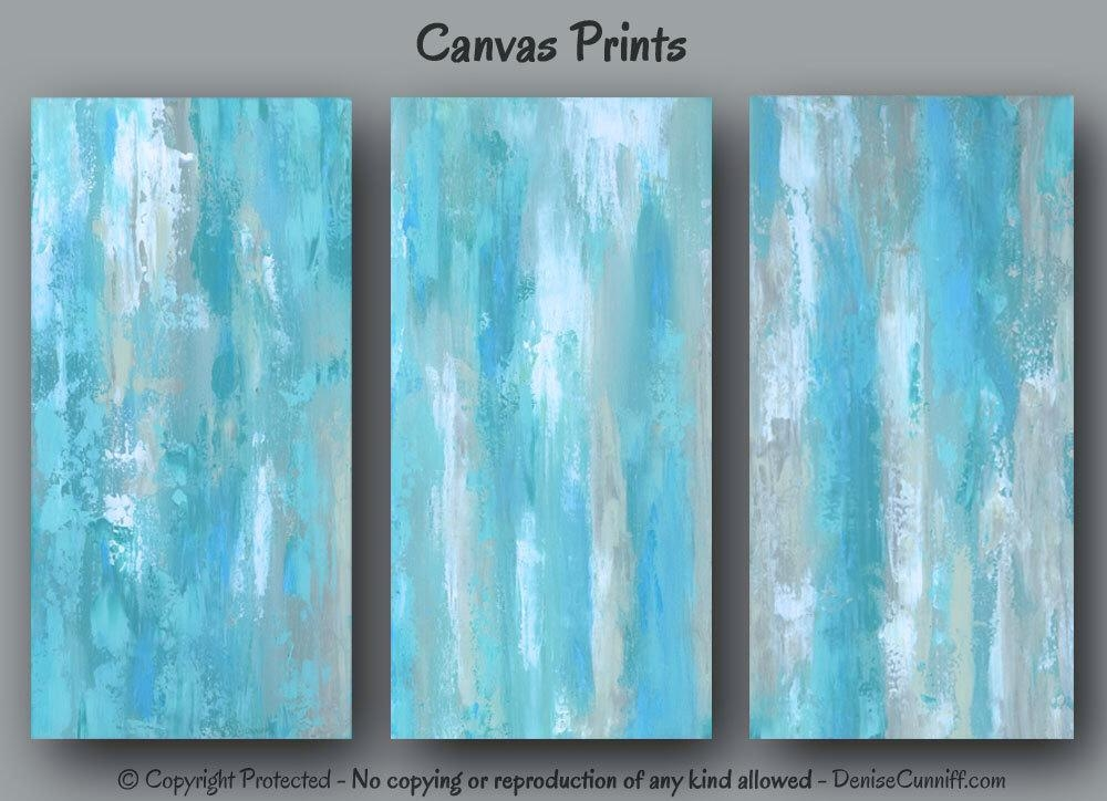 Large Abstract Wall Art, Tan And Teal Blue Bedroom Decor, Canvas Intended For Blue Abstract Wall Art (Image 10 of 20)