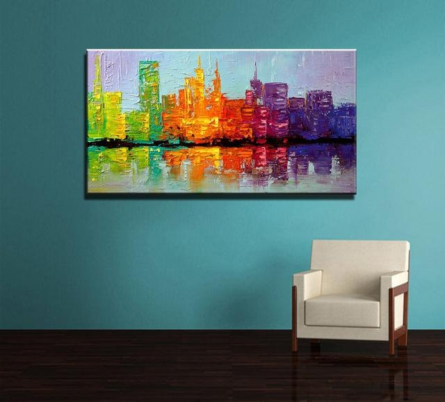 Large Acrylic Knife Paint Hand Painted Abstract Wall Art Building Regarding Acrylic Abstract Wall Art (View 6 of 20)