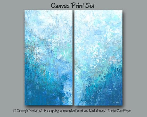 Large Blue Abstract Wall Art 2 Two Piece Canvas Print Set Intended For Aqua Abstract Wall Art (View 10 of 20)