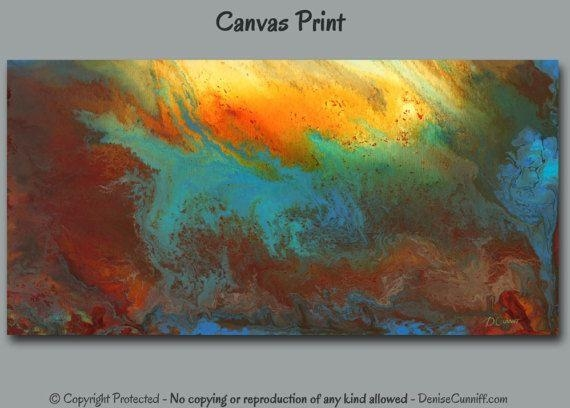 Large Contemporary Abstract Canvas Wall Art Printdenise Inside Blue And Brown Abstract Wall Art (View 17 of 20)