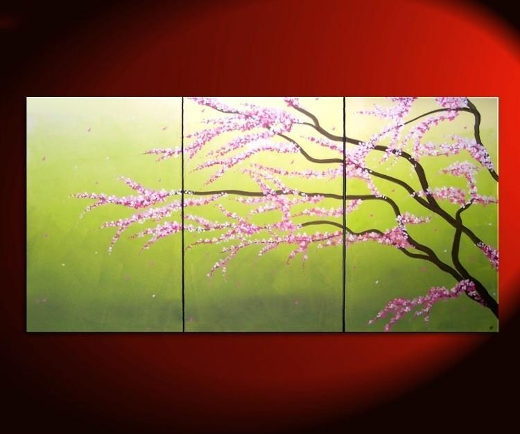 Large Green Abstract Cherry Blossom Painting Spring Greens And For Abstract Cherry Blossom Wall Art (Image 16 of 20)