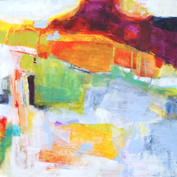 Large Original Abstract Expressionism Painting, White Purple Green In Abstract Expressionism Wall Art (Image 12 of 15)