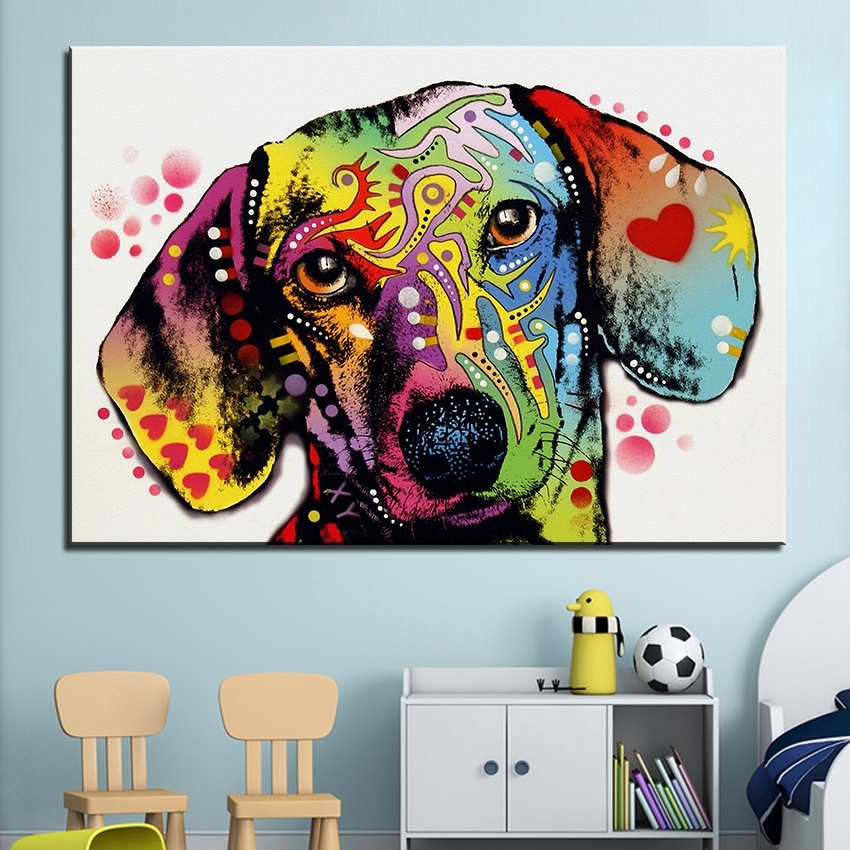 Large Size Print Oil Painting Wall Painting Dachshund Dog Home Pertaining To Abstract Dog Wall Art (Image 8 of 15)