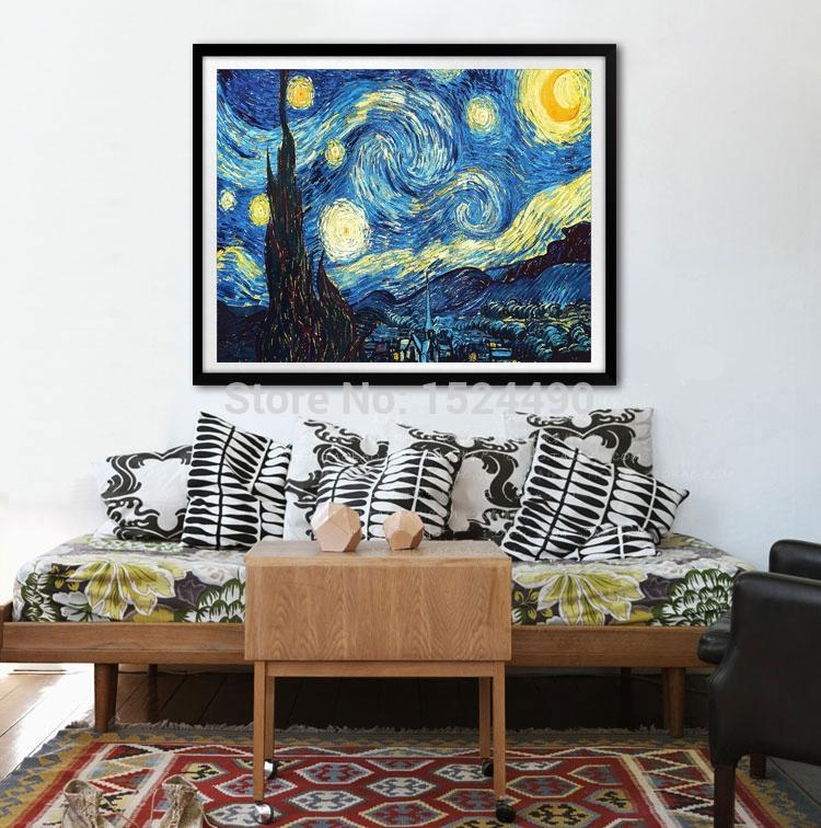 Large Starry Night Of Vincent Van Gogh Handmade Reproduction Oil In Vincent Van Gogh Wall Art (Image 8 of 20)