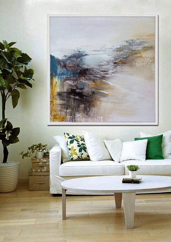 Large Wall Art Abstract Painting Contemporary Art Abstract Inside Abstract Wall Art For Living Room (View 2 of 15)