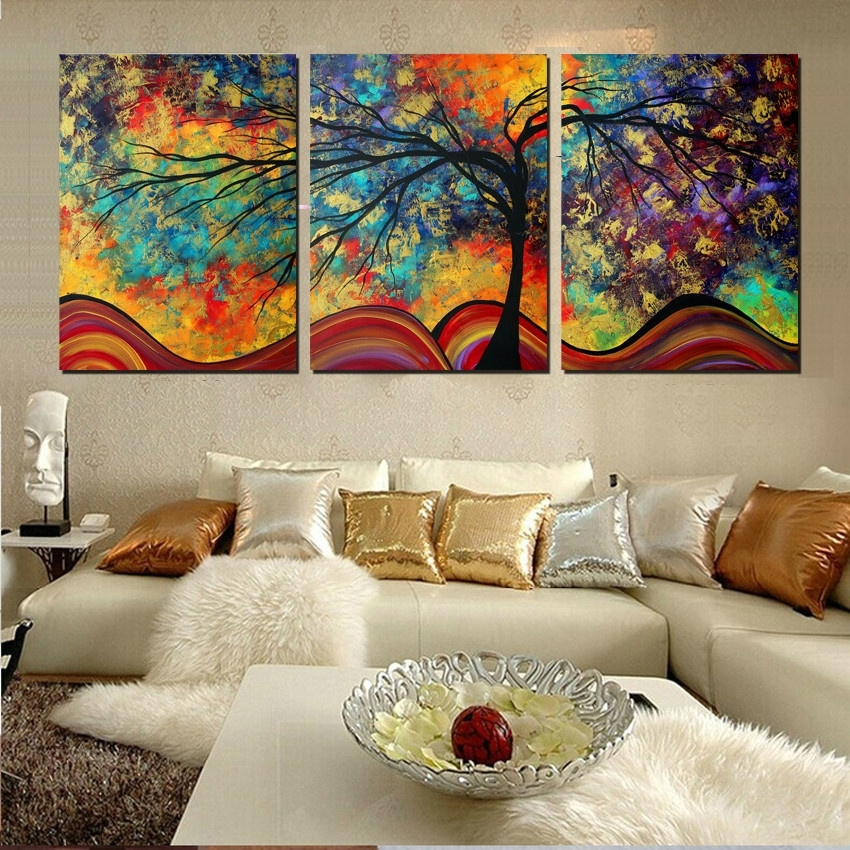 Large Wall Art Home Decor Abstract Tree Painting Colorful For Abstract Wall Art For Living Room (Image 13 of 15)