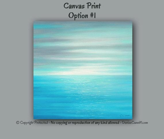 Large Wall Art Sunset Abstract Beach Decor Seascape Teal With Regard To Abstract Beach Wall Art (View 16 of 20)
